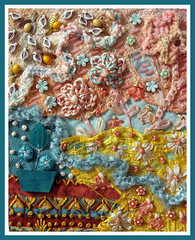 Textured Mini Quilt (konnykards) Tags: texture beads crochet textures stitching ribbon threads yarns miniquilt