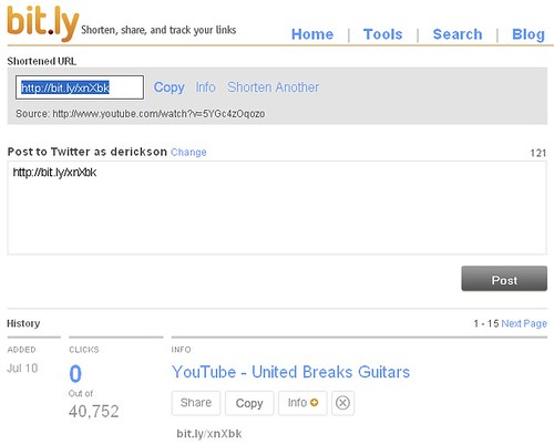 United Breaks Guitars - bit.ly YouTube Video Link Sharing Statistics - 071009