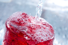Refreshment and Sugary Ideas (Stella Pop) Tags: red cold water glass closeup cool berry sink drink juice full soda mixing refreshing runningwater pouring springwater overflowing refreshment spilling mixeddrink dillute dilluted dilluting