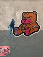 Eve & The Bear (Tian (Chris a.k.a)) Tags: street eve woman streetart paris france pasteup art collage painting paper poster model stencil europe paint acrylic wheatpaste tian spray peinture painter aerosol rue papier lemans bombe affiche pochoir 11e ian