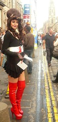 edinburgh fringe 2009: Red Thigh Length Boots (chairmanblueslovakia) Tags: street red woman haircut girl lines yellow festival scotland high edinburgh pretty boots capital platform royal scottish fringe mini skirt double thigh beehive 2009 mile picnik