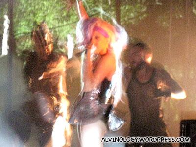 Lady Gaga performing at her Singapore concert
