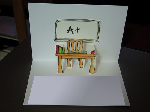 good luck teacher - pop up card