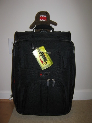 Domo on a suitcase