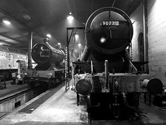 Engine Shed at Night (Gerry Balding) Tags: england night train diesel smoke norfolk shed tracks engine steam rails locomotive wd gala eastanglia gwr northnorfolkrailway northnorfolk class47 mgn 3440 cityoftruro uksteam 90775 thepoppyline