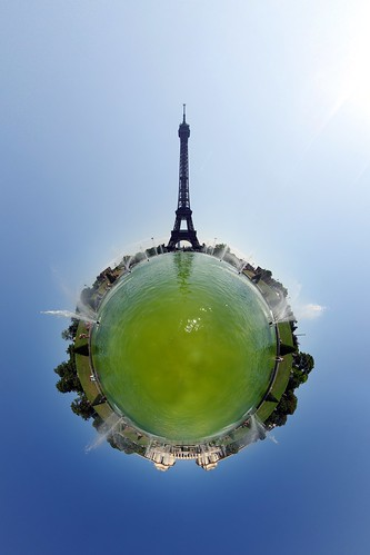 "Green Eiffel (400th Wee Planet) Prints of this picture can be bought at <a href=""http://gadl.imagekind.com/WeePlanets"" rel=""nofollow"">ImageKind</a>.  (Non-polar) stereographic projection of <a href=""http://www.flickr.com/photos/gadl/3907908684/"">this equirectangular panorama</a>.   Part of my <a href=""http://www.flickr.com/photos/gadl/sets/72157594279945875/"">Wee planets</a> set.  This is my <b>400th wee planet!</b>  (I"