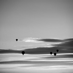 Hot air balloons (Maria Stromvik) Tags: sunset sky bw silhouette clouds freedom flying sweden stockholm himmel hotairballoon liding 08 ballong solnedgng moln luftballong