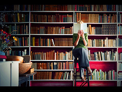 Re: Out of the office.  For a while. (Swirltography) Tags: portrait girl self private reading library books shirley morebooks nicklin
