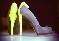 """Sometimes you have to sacrifice your performance for high heels."" (heartbreaker [London]) Tags: yellow high gray heels luxury balenciaga"