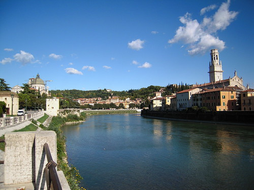A shot of the Adige River, which snakes through a large portion of Verona. The white tower belongs to the Duomo (cathedral).