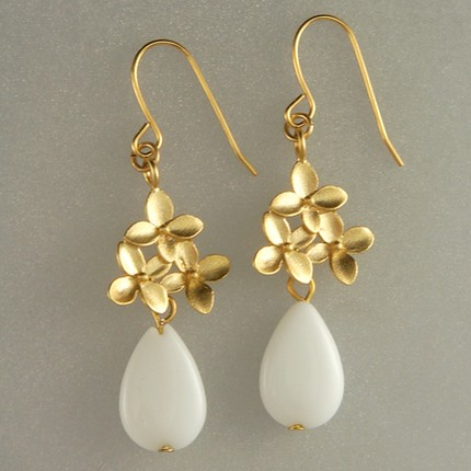 Birdhouse glass drop earrings