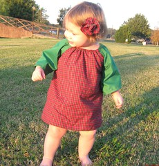 christmas dress 6 (Southern June Bugs) Tags: christmas red holiday green girl toddler dress handmade etsy plaid bloomers custommade artfire hairbow flowerhairclip shophandmade