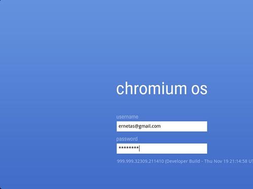 Chromium OS prisijungimo langas