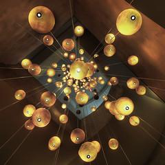 Hanging lights (momentaryawe.com) Tags: lights hotel uae lookingup abudhabi spheres unitedarabemirates hdr d300 sirbaniyasisland catalinmarin momentaryawecom