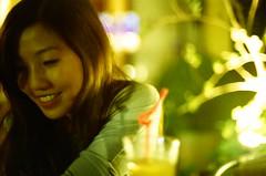 lovely smile (appleloverr) Tags: smile night cafe girlfriend  expiredfilm nikonem
