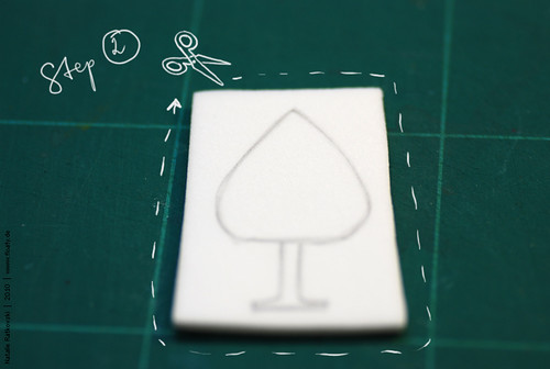 Sponge rubber stamp, step 2