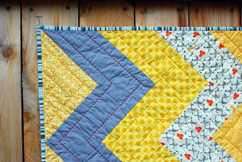 grey & gold baby quilt detail
