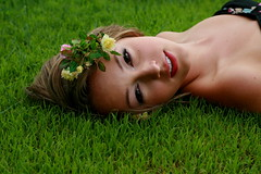 Katie Blake. (Ally Newbold) Tags: camera pink flowers portrait flower green slr girl grass yellow youth digital portraits canon out allison photography rebel katie young teen teenager killa mm straight f18 blake 50 collarbones sooc xti