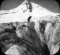 Eliot Glacier, deep crevasses of snow and ice on Mount Hood