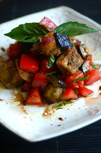 Baked Eggplant Bruschetta Salad : sweet beet and green bean
