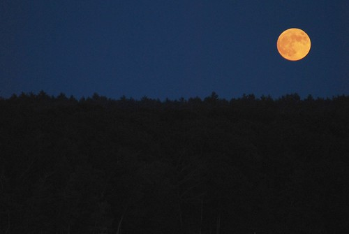 moon over Damariscotta Lake