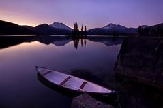 An Evening on Sparks (Dan Sherman) Tags: sunset mountain lake reflection oregon bend canoe mountainlake bendoregon southsister sparkslake mountainreflection