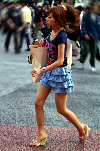 Shibuya Girl in Tiered Denim Skirt