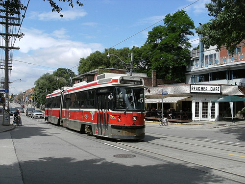streetcar passing Beacher Cafe