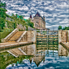 ~ a moment in my evening ~ (ViaMoi) Tags: canada reflection ottawa capital locks hdr lochs rideaucanal chateaulaurier digitalcameraclub viamoi boatpassage