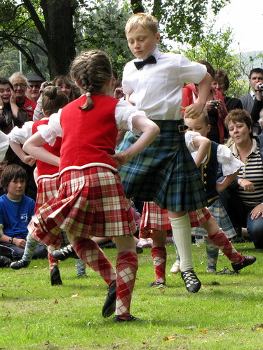 At the Huntly mini-tattoo, youngsters dancing
