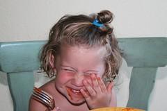 Having dinner is fun! (Alesa Dam) Tags: portrait people girl smile face topv111 dinner fun funny child humor fork laugh referenced challengeyouwinner 3waywinner challengewinner thumbsup20120911