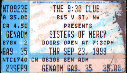 19990923 - ticket stub - Sisters Of Mercy - 9:30 Club