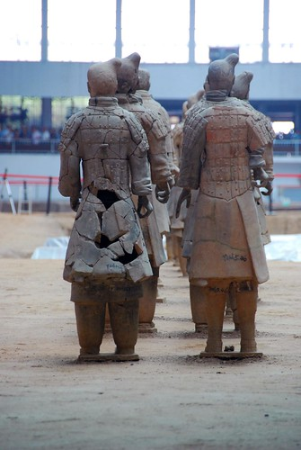 reconstructed army of terra cotta soldiers, xian