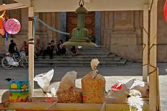 Tutto pronto per la festa (sabrinac78) Tags: people scale colours gente riposo sicily lampara festa colori atmosfera sicilia giochi passio bancarella palloncini bicicletta siciliani scalinata paese sagrato gesti seduti ristoro sicilianit struscio sacccio