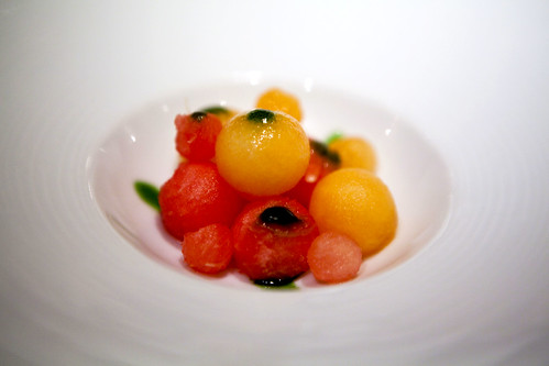 Watermelon and cantaloupe balls with shiso syrup