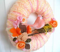 Peach Fall Yarn Wreath (KnockKnocking) Tags: door pink autumn orange cute bird fall love rose vintage frost nest sweet handmade pastel painted mommy egg decoration stripe mother harvest felt velvet sugar yarn wreath ornament finch acorn round aviary ribbon chic pinecone creamsicle sherbet shabby shabbychic