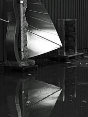 Arty Bornholm (Kirsten M Lentoft) Tags: bw reflection art water rain denmark steel bornholm granith bwartaward svanneke kirstenmlentoft