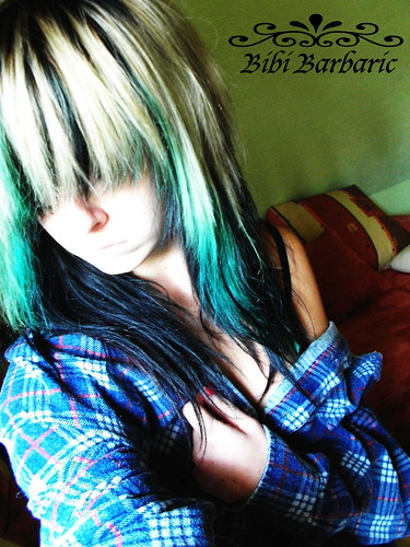 emo girl with black and blue hair. bibi barbaric emo scene girl