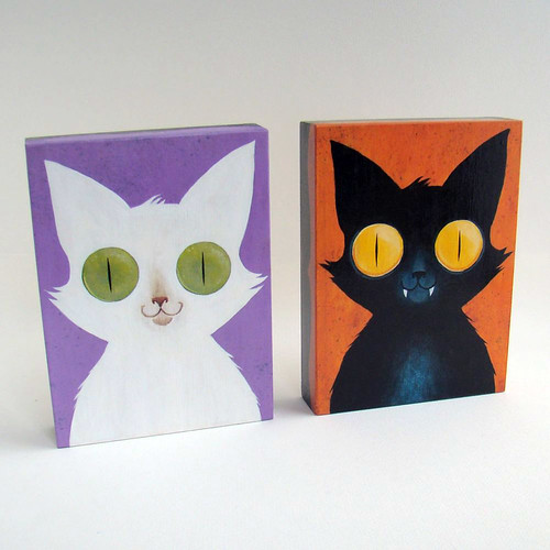 Two cat paintings