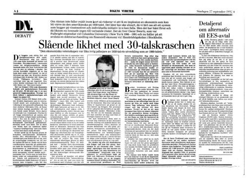 DN Debatt 1992-09-27