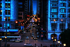 vanishing monroe (Dan Anderson (dead camera, RIP)) Tags: street city blue chicago downtown traffic east hour monroe gothamcity