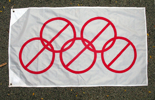 No Olympics flag by artist Kathryn Walter