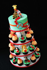 Safari/Madagascar Wedding Tower (Bella Cupcakes (Vanessa Iti)) Tags: wedding monkey penguins lion safari cupcake jungle giraffe hippo madagascar
