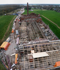 Strawboard factory 'de Toekomst' ('Future') being restored - panorama (KAPturer) Tags: panorama kite holland industry netherlands dutch industrial factory stitch ruin wideangle aerial stack fromabove steam fisheye ruine cardboard smokestack photomerge restoration kap groningen stitched birdseyeview kiteaerialphotography nighthawk luchtfoto fabriek photostitch restauratie vanboven vlieger vogelvlucht industrialarchaeology toekomst scheemda autopanopro detoekomst strokarton vliegerfoto lx3 strawboard strokartonfabriek dunecam scheemdermeer kapturer 201109 kiwidelta simonbenus