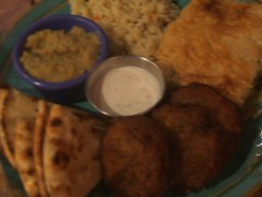 Spinach pie and felafel plate
