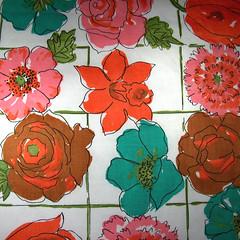 vintage flowers (Blackbird Visions) Tags: flowers orange brown floral teal johnwolftextiles pinkvintagefabricsewingforsaleforsaleetsy