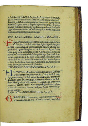 Manuscript intials and foliation from Petrarca, Francesco [pseudo-]: Vite dei Pontefici e Imperatori Romani