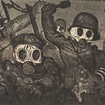 'Stormtroops Advancing Under Gas' etching and aquatint by; Otto Dix, 1924 thumbnail