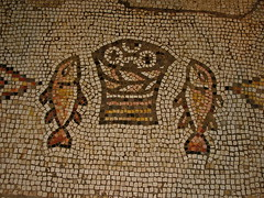 Loaves and fishes mosaic in Church of the Multiplication (James Emery)