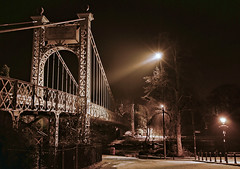 Chester's Suspension Bridge (Steve Wilson - classic view please) Tags: park city uk longexposure bridge vacation england holiday architecture night river geotagged nikon iron long exposure cheshire suspension time britain steel famous tripod great location tourist structure architectural chester nighttime queenspark destination d200 dee geotag suspensionbridge span groves grosvenor riverdee spanning nikond200 handbridge thegroves